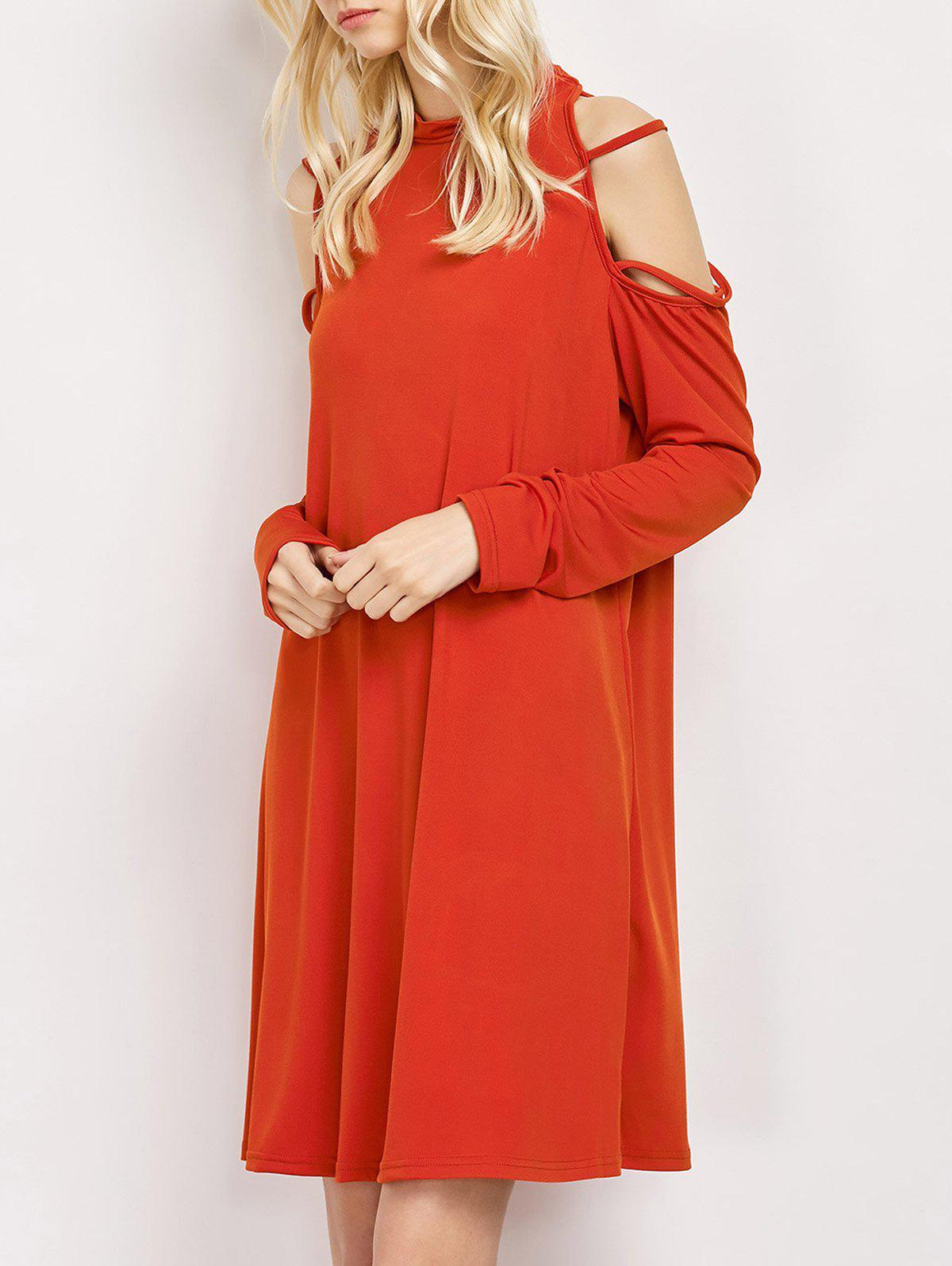 Cold Shoulder Strappy Loose Long Sleeve Dress - RED M