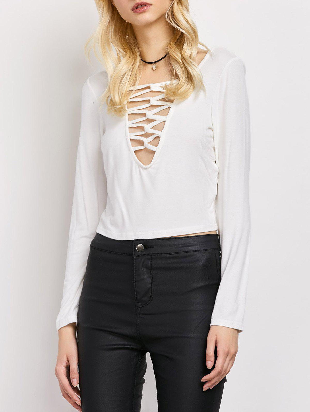 Lace-Up Cut Out Fitting T-Shirt - WHITE M