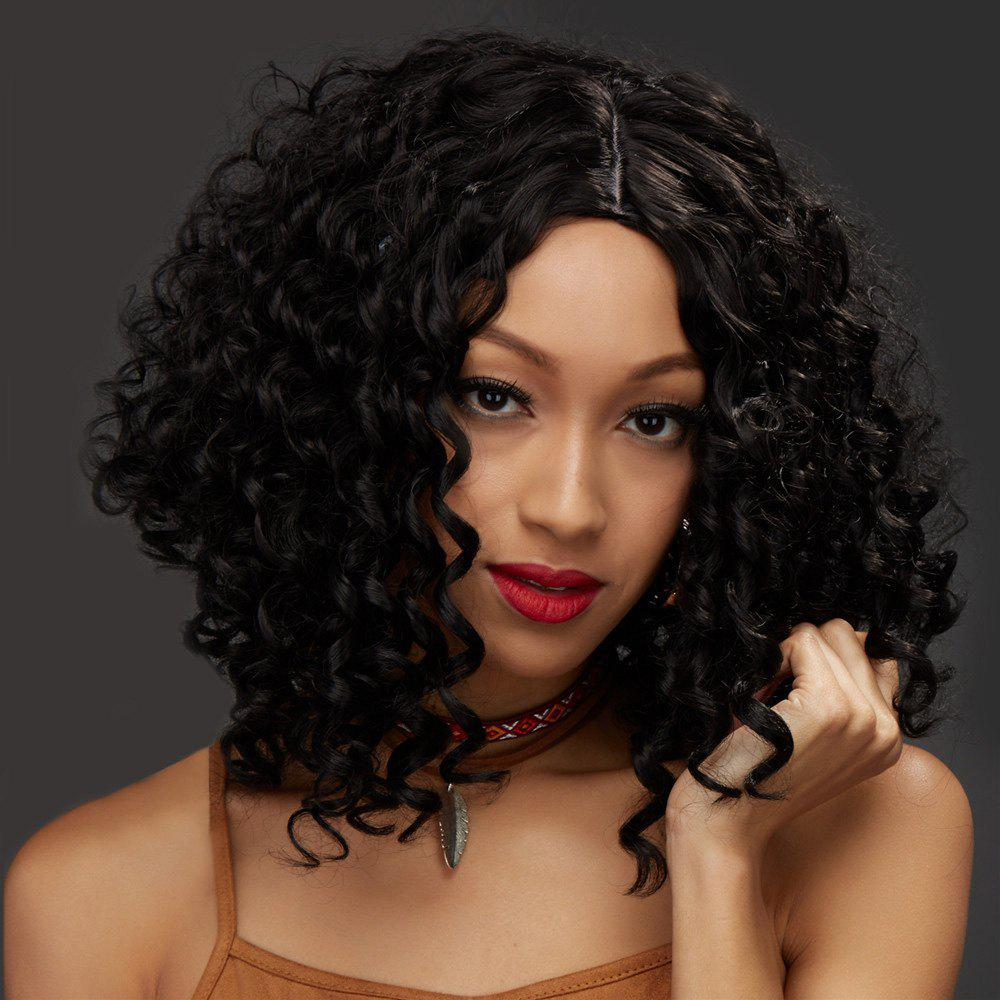 Women's Impressive Medium Centre Parting Black Afro Curly Synthetic Hair Wig - BLACK