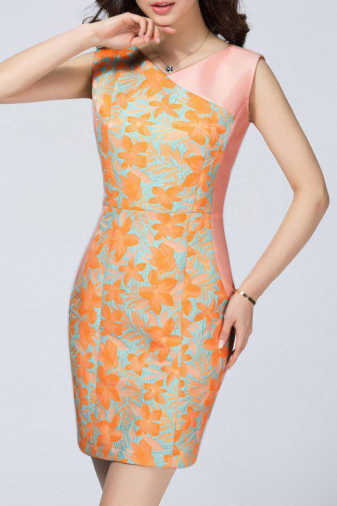 Bodycon Dress With Floral Jacquard - GOLDEN M