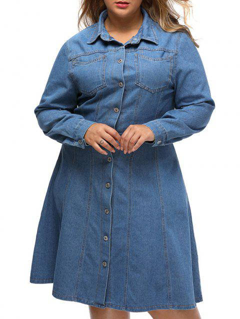 ef98fcdcdb LIMITED OFFER  2019 Plus Size Skater Chambray Shirt Dress In DENIM ...