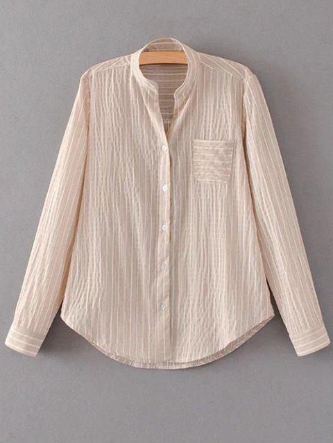 Pocket Mandarin Collar Striped Shirt - NUDE PINK M