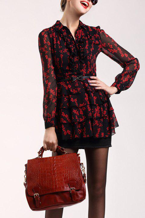 Floral Tiered Sheer Blouse - RED/BLACK XL