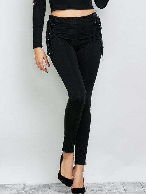 Lace Up Skinny Slimming Pants - BLACK S