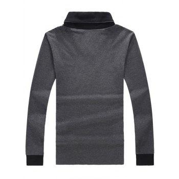 Two Tone Buttoned Long Sleeve T-Shirt - GRAY GRAY