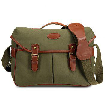 PU Panel Double Buckles Camera Bag - GREEN GREEN