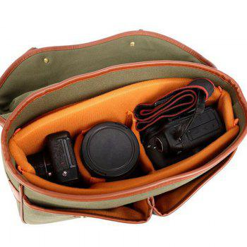 PU Panel Double Buckles Camera Bag -  GREEN