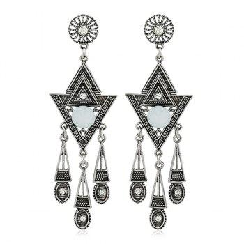 Triangle Carved Rhinestone Earrings - SILVER SILVER