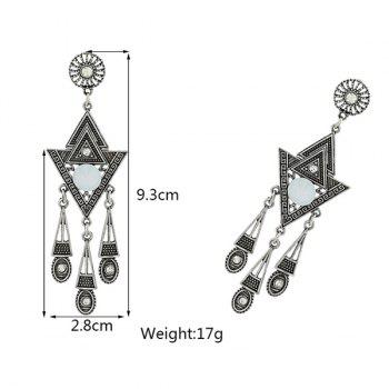 Triangle Carved Rhinestone Earrings -  SILVER