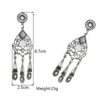 Hollow Out Water Drop Earrings -  SILVER