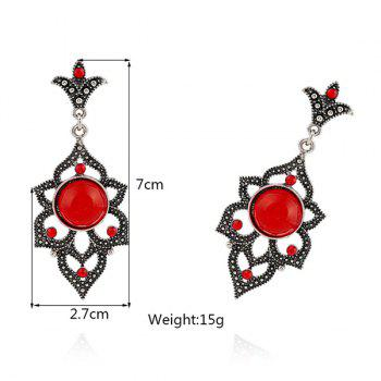 Rhinestone Faux Opal Earrings -  RED
