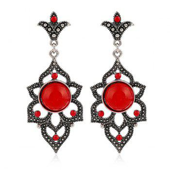 Rhinestone Faux Opal Earrings - RED RED