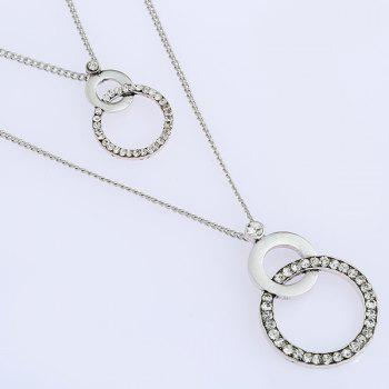 Interlocking Layered Rhinestone Necklace -  SILVER