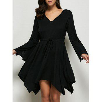 Tie Front Asymmetrical Dress - BLACK M