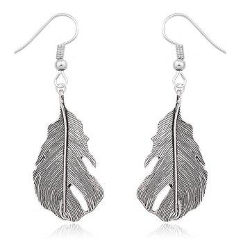 Feather Shape Dangle Earrings - SILVER SILVER