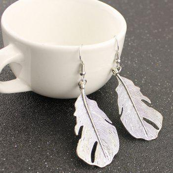 Feather Shape Dangle Earrings -  SILVER
