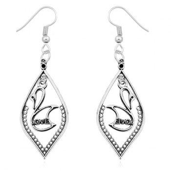Love Swan Drop Earrings - SILVER SILVER