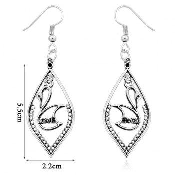 Love Swan Drop Earrings -  SILVER