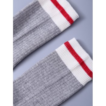 Letter Graphic Pattern Knitted Socks -  GRAY