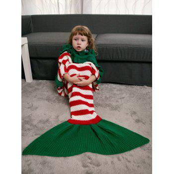 Ruffles Striped Crochet Knit Mermaid Blanket Throw For Kids -  COLORMIX