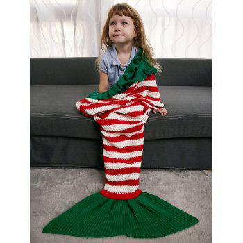 Ruffles Striped Crochet Knit Mermaid Blanket Throw For Kids - COLORMIX COLORMIX