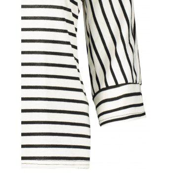 Crew Neck Striped T-Shirt - WHITE WHITE