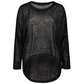 Drop Shoulder Oversized High Low Knit Sweater - BLACK 2XL