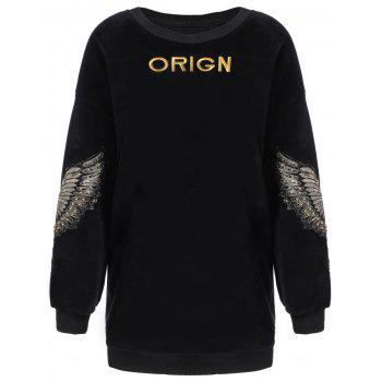 Wing Letter Embroidery Drop Shoulder Sweatshirt