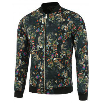 3D Ethnic Style Feather Printed Zip Up Jacket