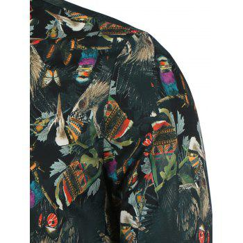 3D Ethnic Style Feather Printed Zip Up Jacket - COLORMIX COLORMIX