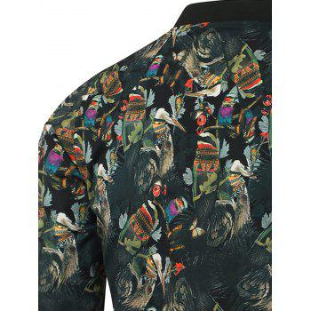 3D Ethnic Style Feather Printed Zip Up Jacket - 2XL 2XL