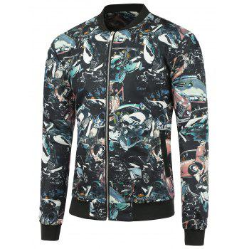 Car Accident Printed Zip Up Jacket