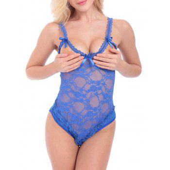 Lace Sheer Cut Out Open Back Teddy