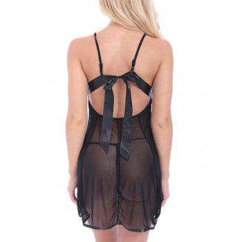 String Lace Panel Mesh Sheer Backless Babydoll - BLACK BLACK