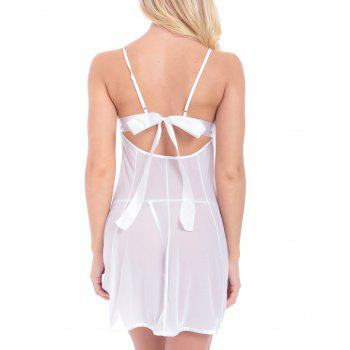 String Lace Panel Mesh Sheer Backless Babydoll - WHITE WHITE