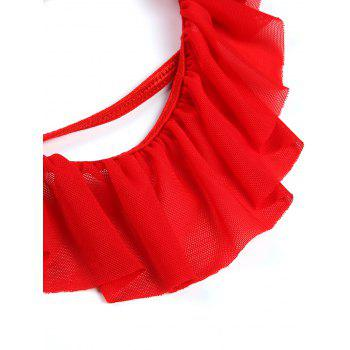 Flounce String Bra with Sheer Briefs - RED RED