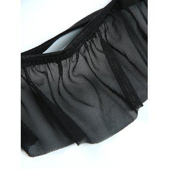 Flounce String Bra with Sheer Briefs - BLACK BLACK