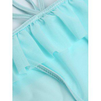 Flounce String Bra with Sheer Briefs - LAKE BLUE LAKE BLUE