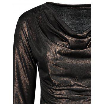Cowl Neck Metallic Ruched Tee - GOLD BROWN GOLD BROWN