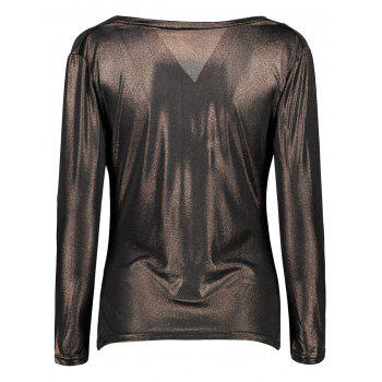 Cowl Neck Metallic Ruched Tee - M M