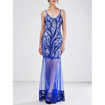 Long Sequin See Thru Slip Prom Dress