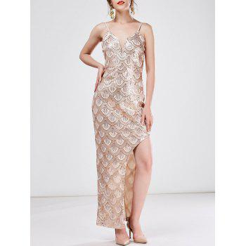 Sequined High Slit Plunge Maxi Dress