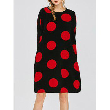 Polka Dot Casual Dress With Double Pocket