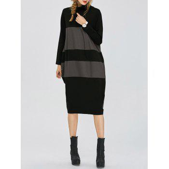 Twin Pocket Turtle Neck Midi Dress