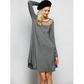 Mesh Insert Long Sleeve Dress