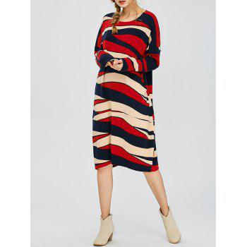 Twin Pocket Color Block Slouchy Jumper Dress