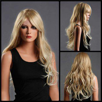 Long Fluffy Side Bang Wavy Colormix Synthetic Wig