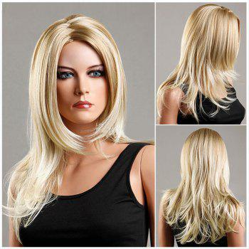 Long Fluffy Zigzag Parting Slightly Curled Synthetic Wig