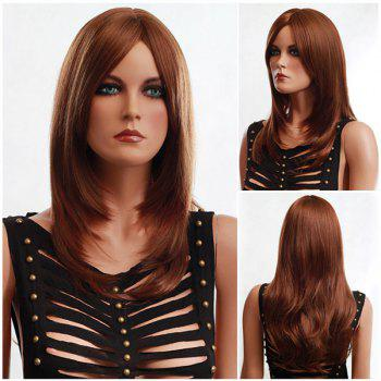 Long Fluffy Side Parting Slightly Curled Synthetic Wig