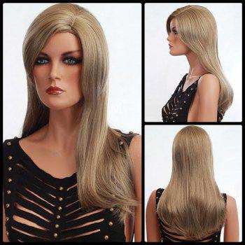 Long Shaggy Side Parting Natural Straight Synthetic Wig